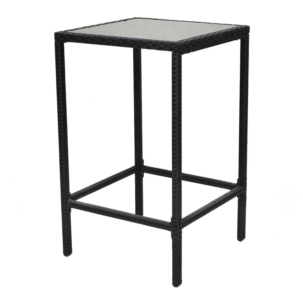 3pcs garden patio rattan wicker outdoor dining set table and 2 bar stool chairs ebay. Black Bedroom Furniture Sets. Home Design Ideas