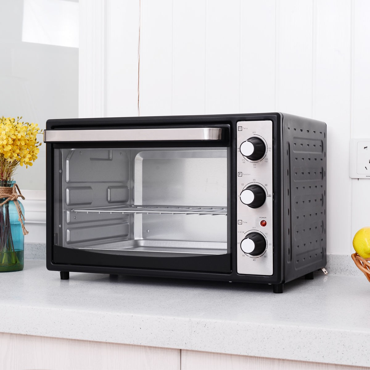 Electric Toaster Oven ~ L w electric toaster oven timer toast grill home