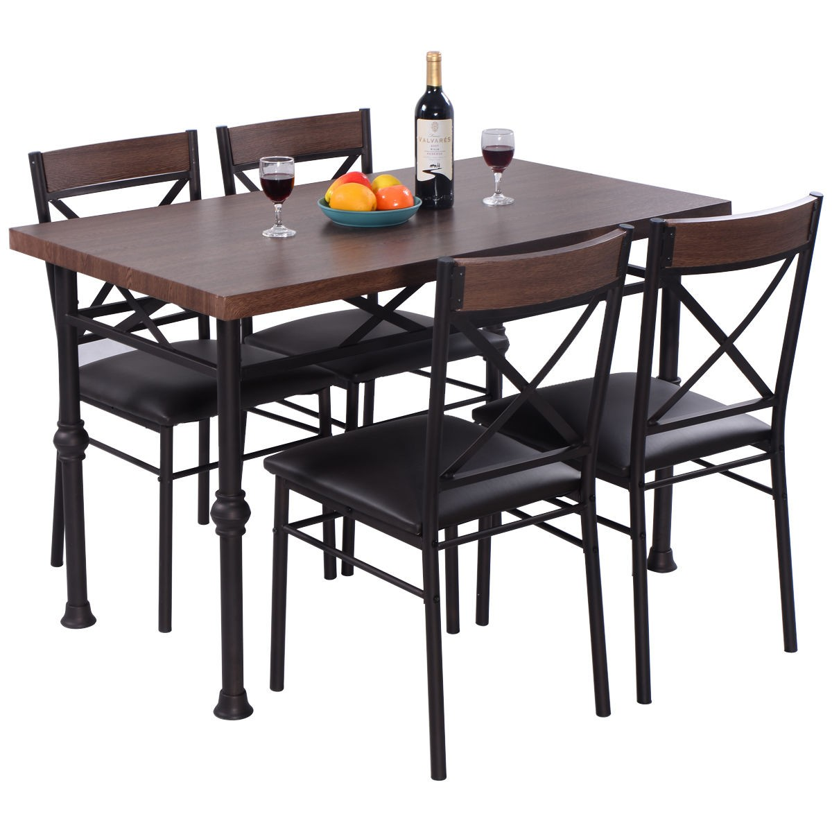 Home 5 Pcs Dining Table And Chairs Set Dining Room Kitchen Breakfast Furnitur