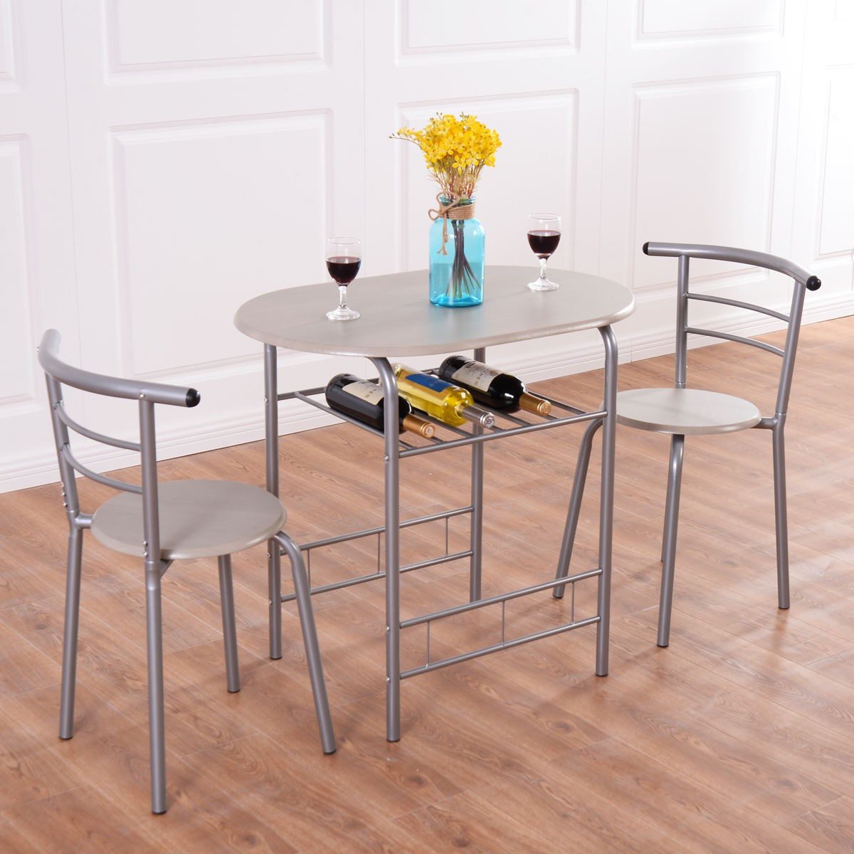 Dining Kitchen Table Sets: 3pcs Bistro Dining Set Small Kitchen Indoor Outdoor Table