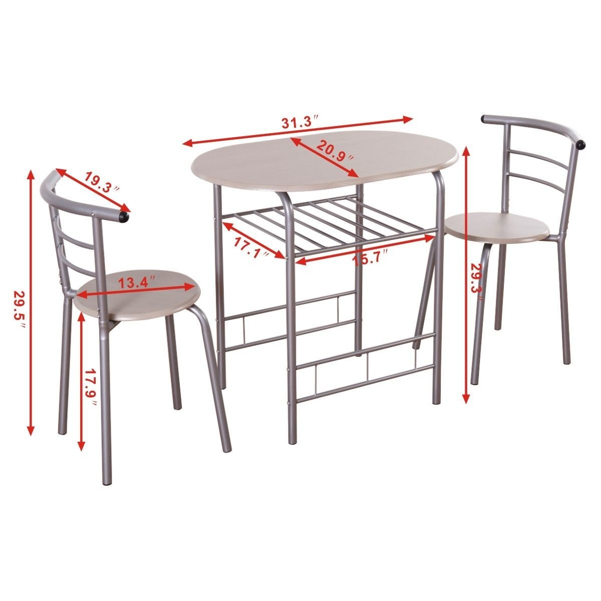 3pcs bistro dining set small kitchen indoor outdoor table for Small outside table and chairs