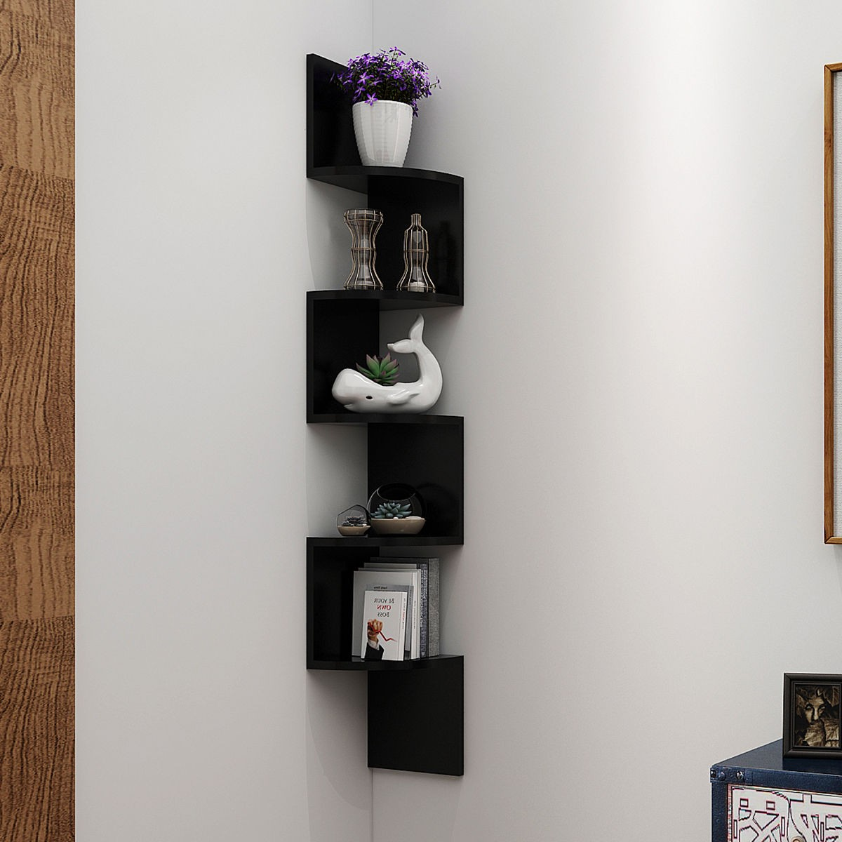 5 tiers home corner wall mount shelf storage rack hanging zig zag display us ebay. Black Bedroom Furniture Sets. Home Design Ideas
