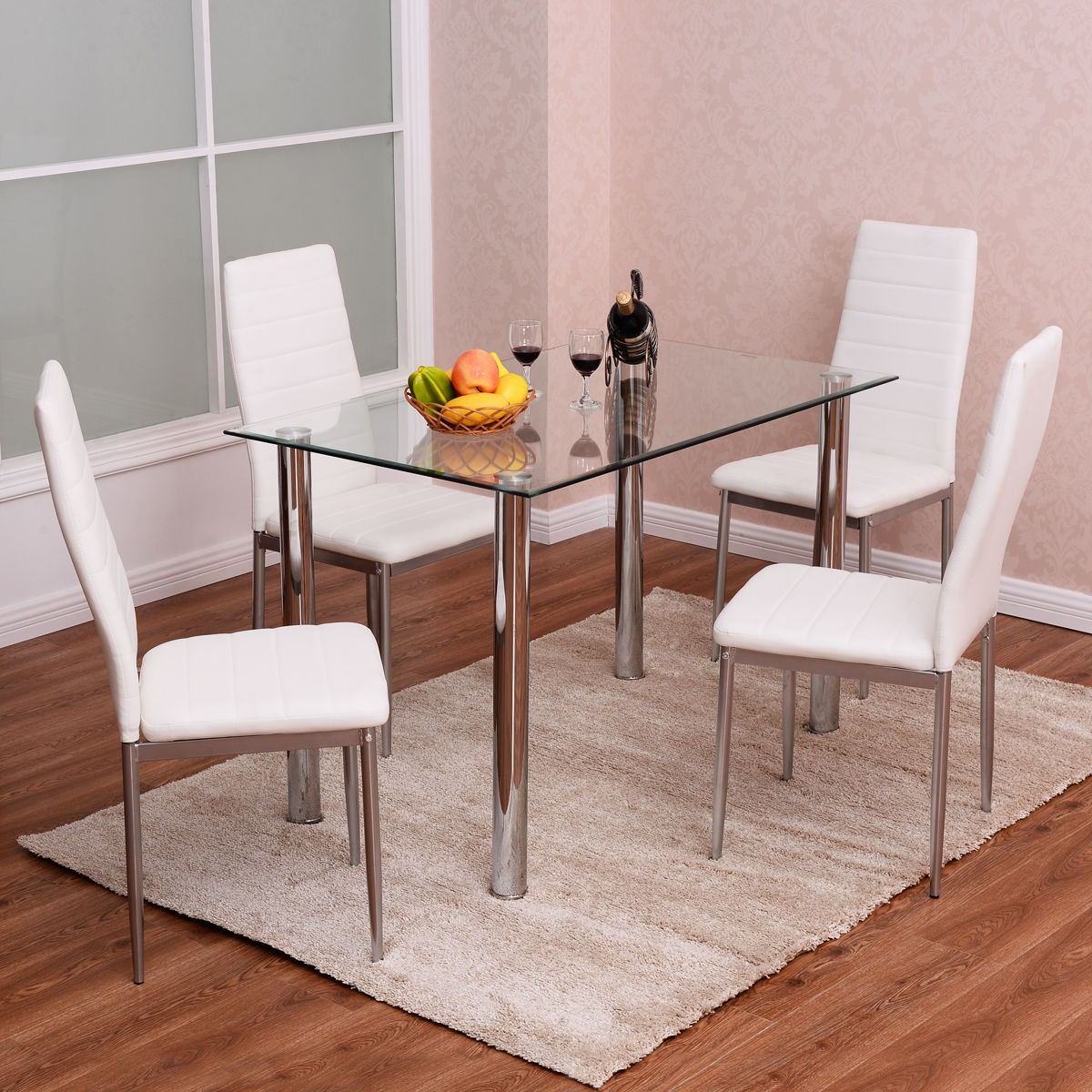 5pcs metal glass table and 4 chairs kitchen room breakfast