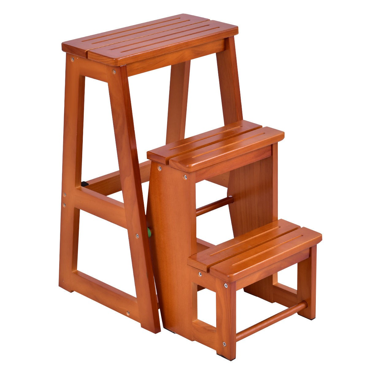3 tiers step stool folding solid wood platform kitchen ladder bench seat utility ebay. Black Bedroom Furniture Sets. Home Design Ideas
