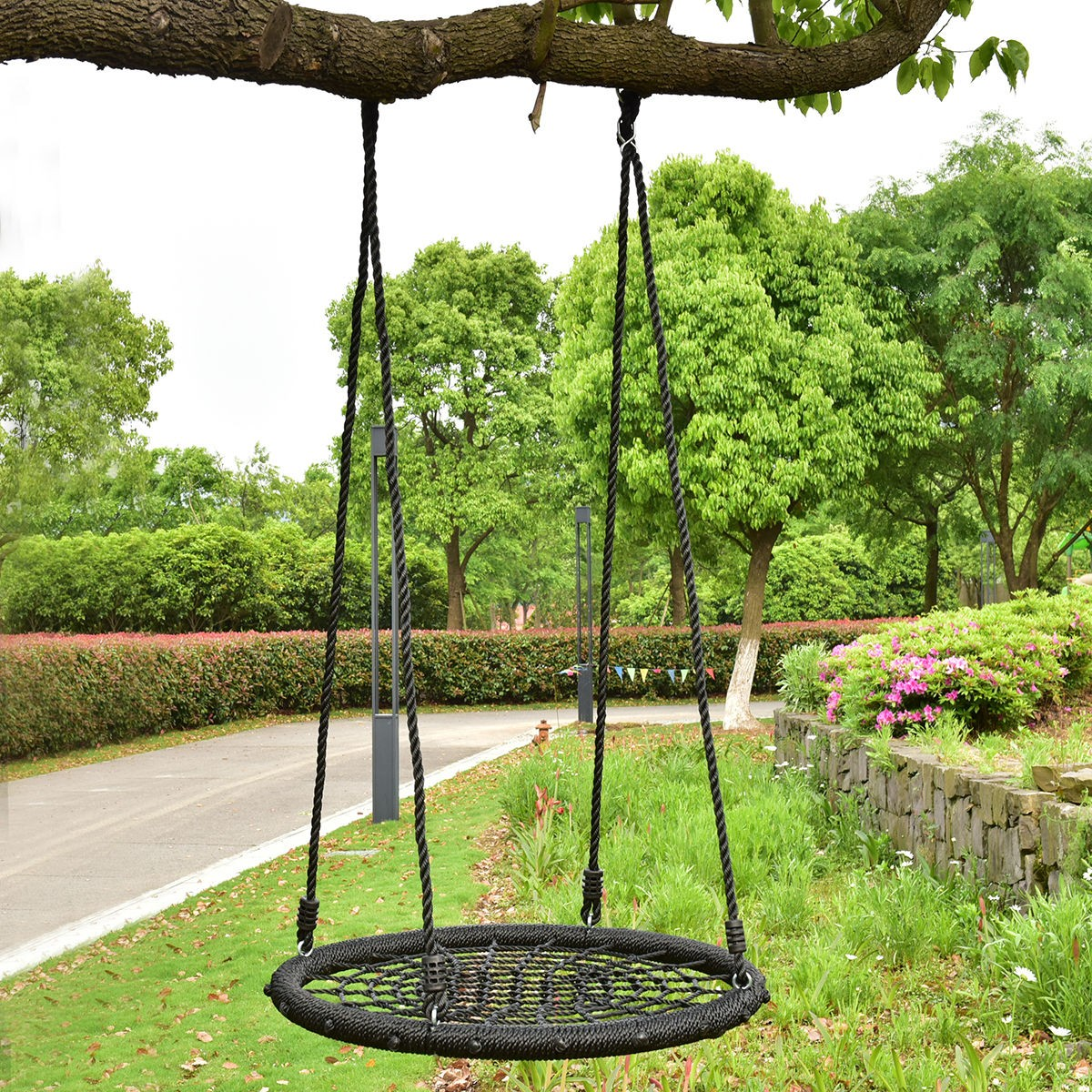 "31.5"" Kids Outdoor Tree Swing Round Net Tool Garden"