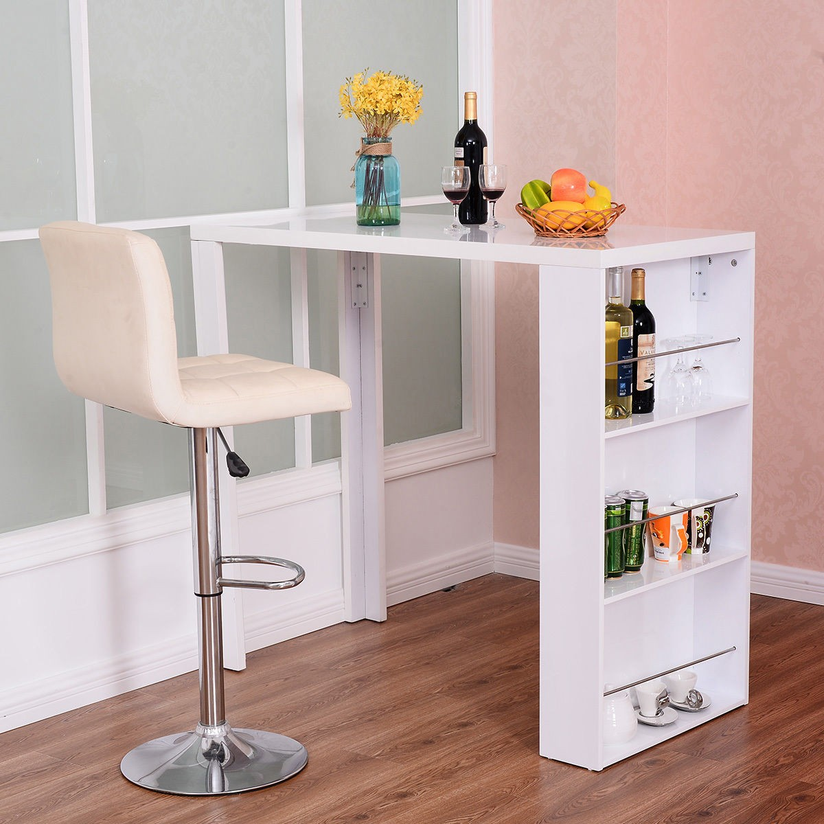 White Counter Height Table W/Storage Shelves Island