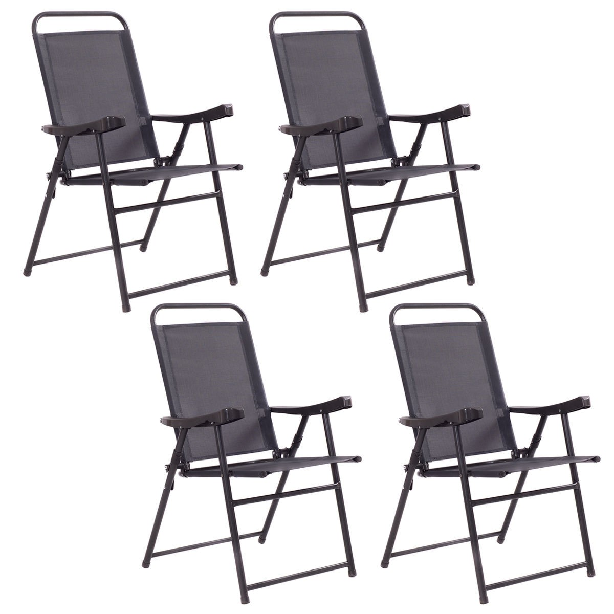 4Pcs Folding Sling Chairs With Armrest Textiliene Outdoor Patio Furniture Set