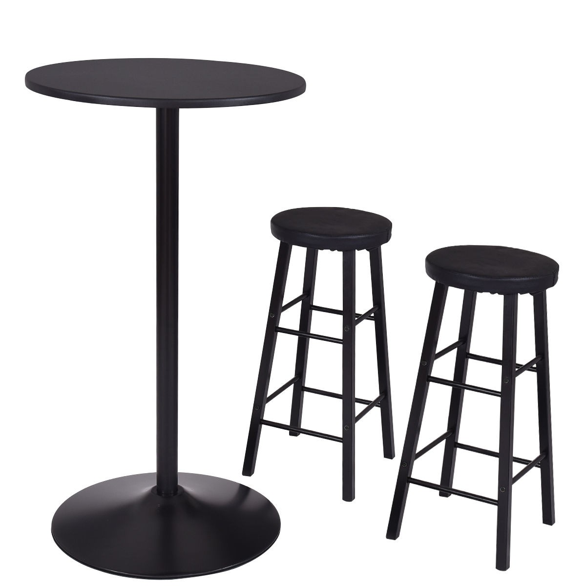 3PC Set Round Bar Table + 2 Stools Seat Chair Breakfast Bistro ...