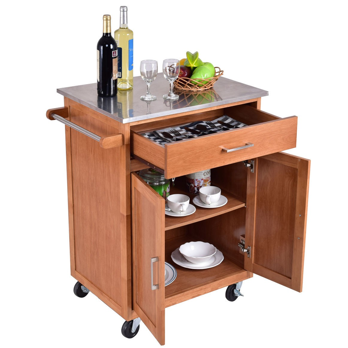 Details about Kitchen Wood Island Trolley Cart Stainless Wheel Rolling  Storage Cabinet Moving