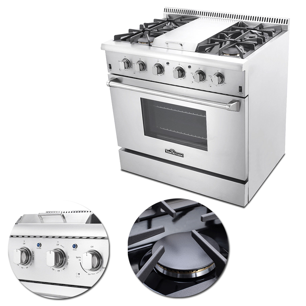 Thor Kitchen 36\'\' Professional Stainless Steel Gas Range with ...