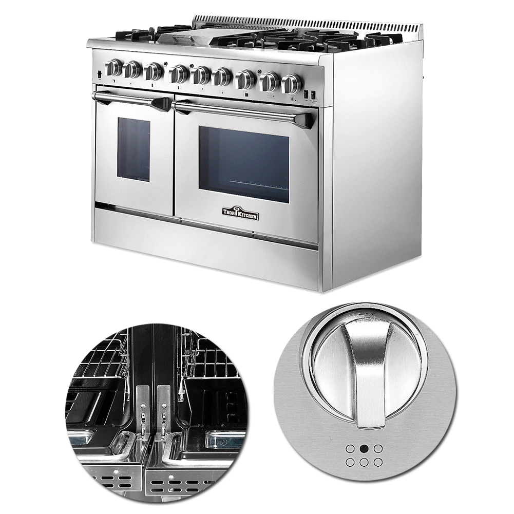 Thor 48\'\' Professional Kitchen Stainless Steel Dual Fuel Range ...