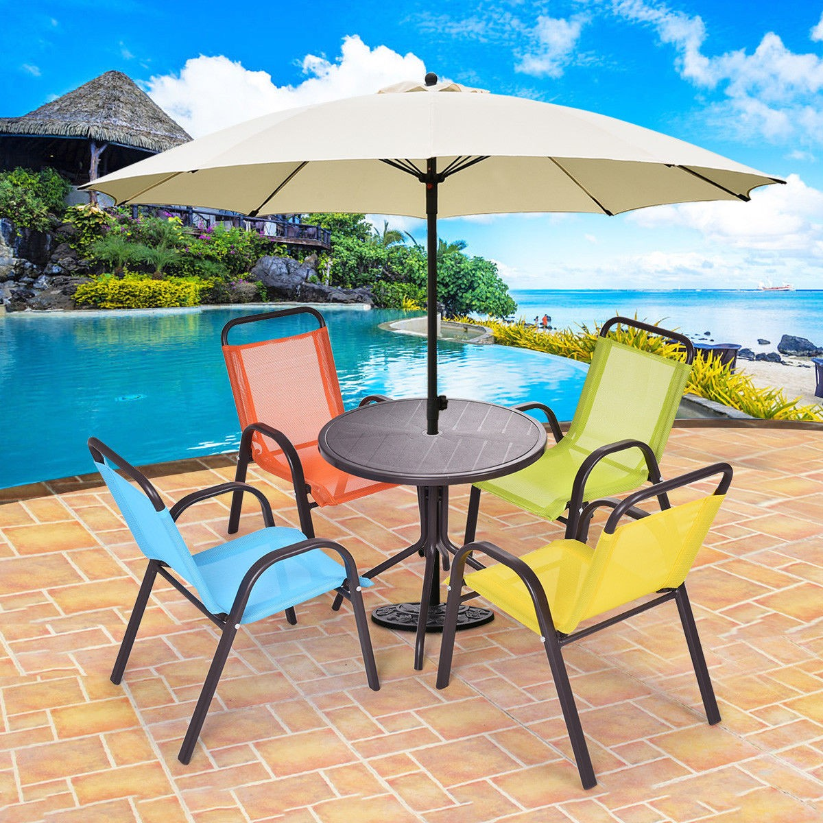 Magnificent Details About 5Pcs Set Kids Patio Dining Table And Chairs Play Colorful Outdoor Furniture Us Download Free Architecture Designs Scobabritishbridgeorg