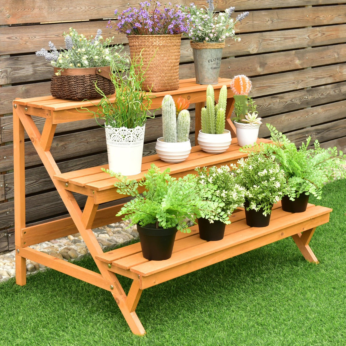 3 tier garden wooden step ladder plant pot rack display for Wooden plant pot ideas