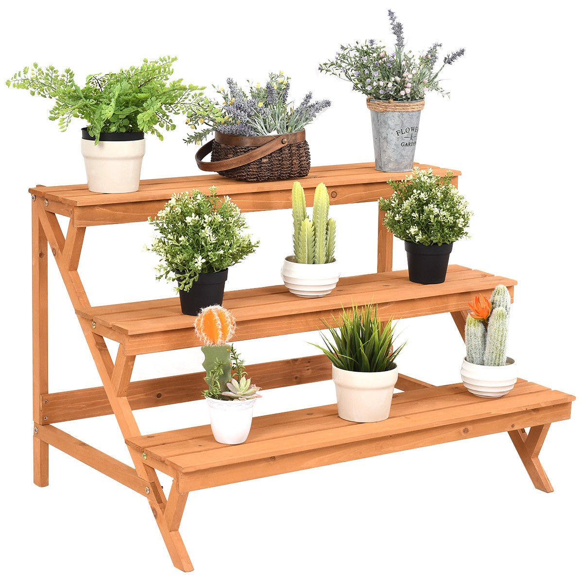 3 Tier Garden Wooden Step Ladder Plant Pot Rack Display