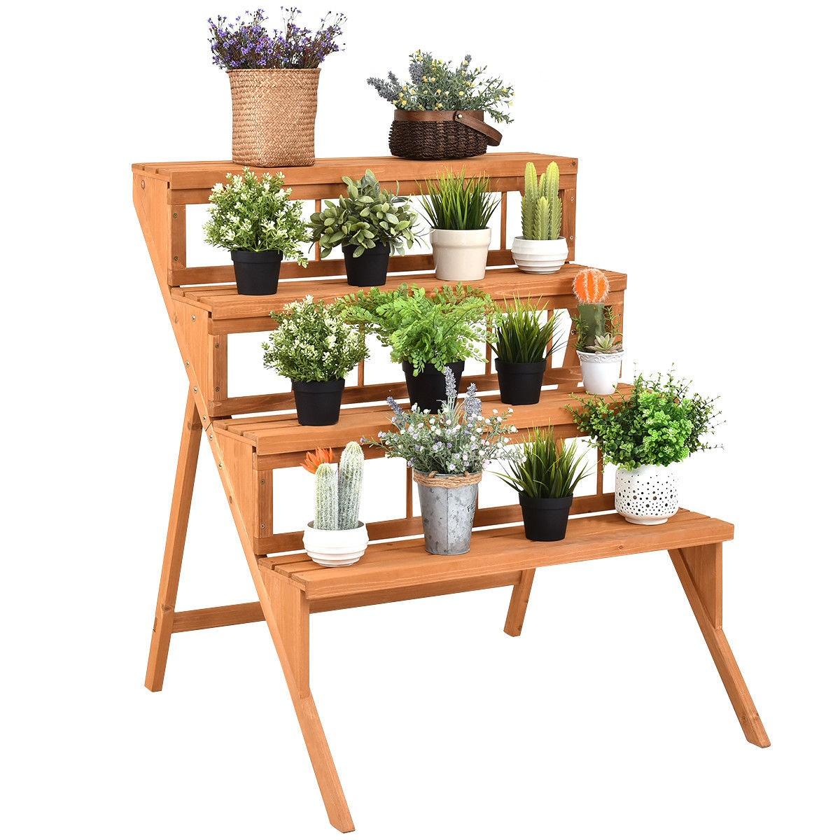 Plant Pot Holders Diy: 4 Tier Home Garden Indoor Yellow Wood Ladder Step Flower