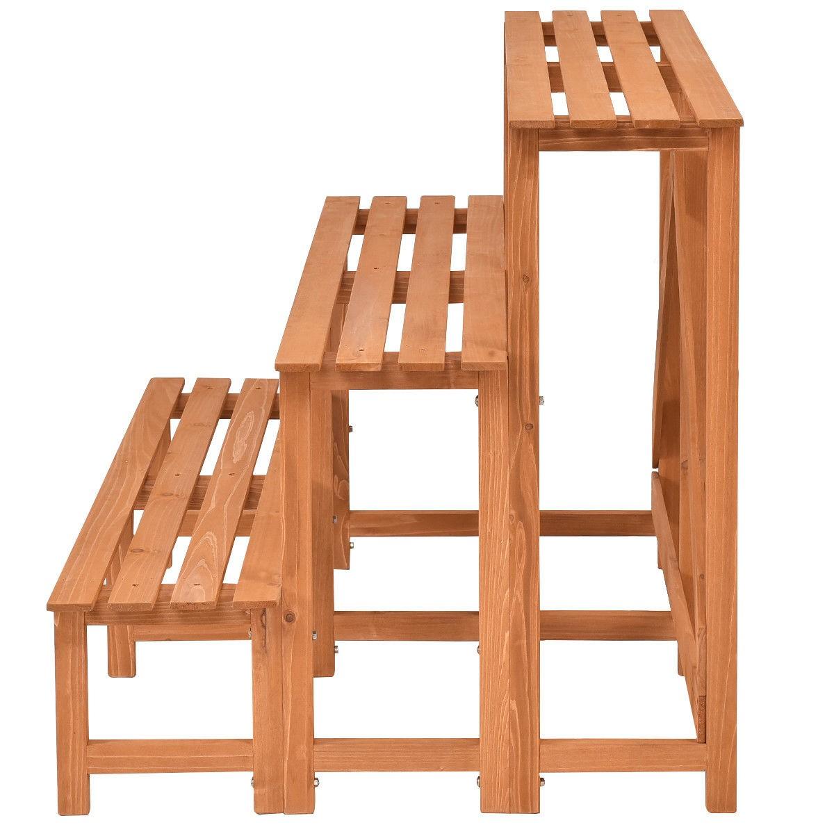 wooden outdoor wide flower shelf pot step ladder plant. Black Bedroom Furniture Sets. Home Design Ideas