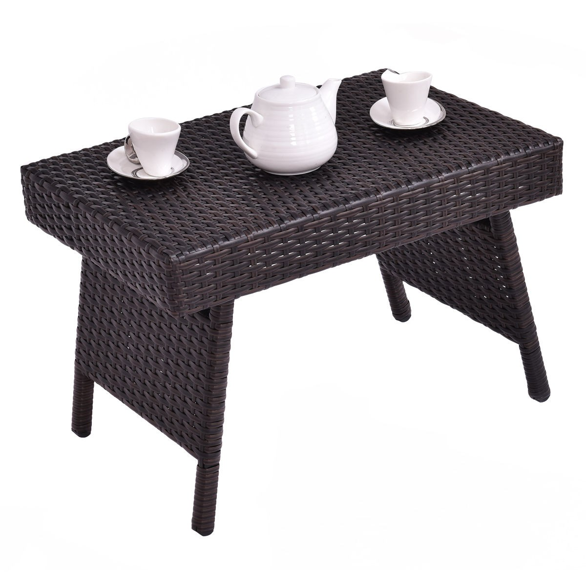 Vintage Mix Brown Patio Folding Rattan Side Coffee Table