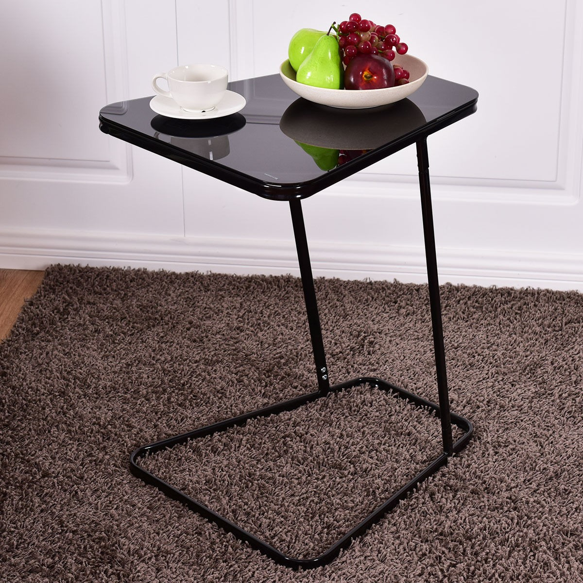 Details about home retro black creative c shape steel frame end glass table modern furniture