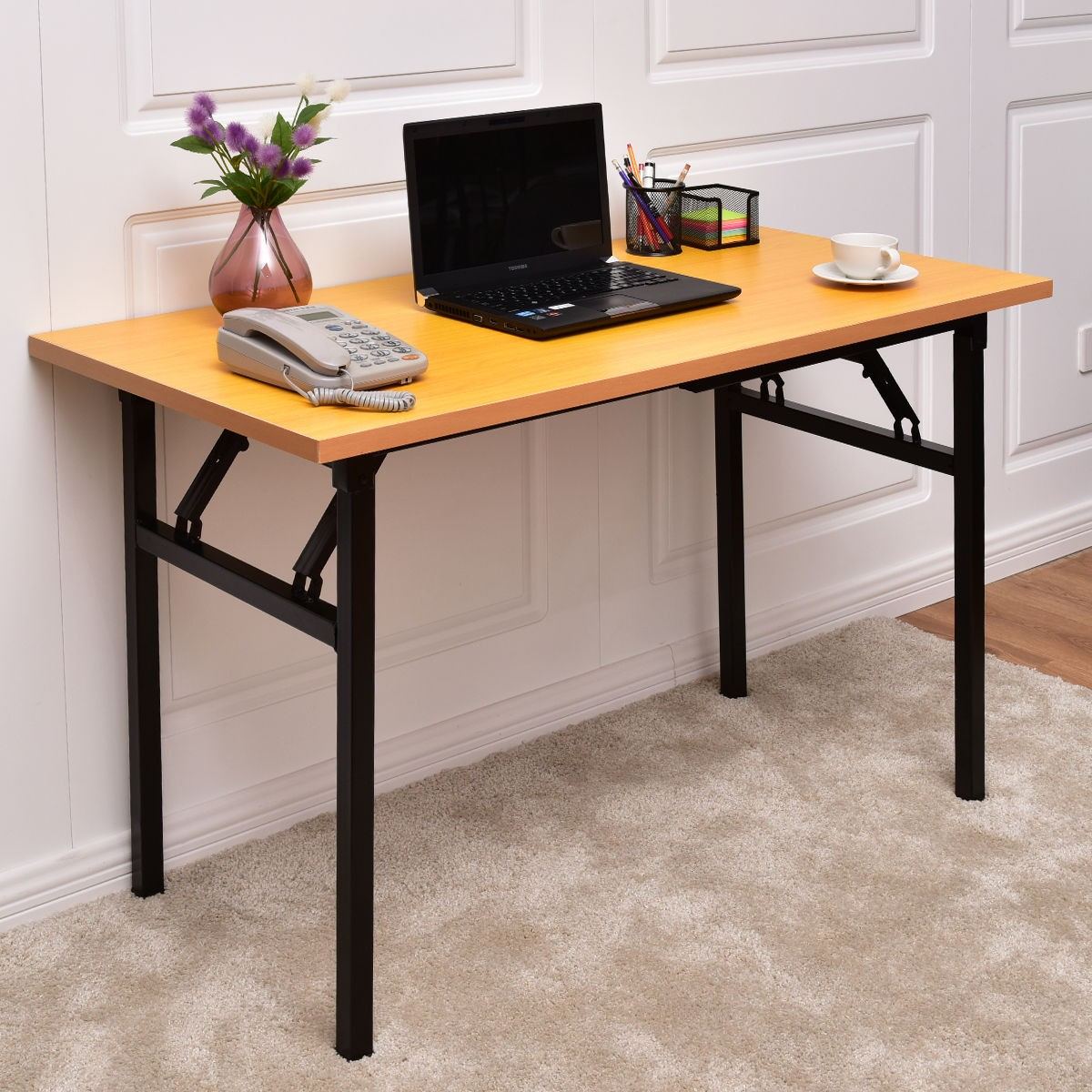 Details about modern home office folding workstation pc computer table desk furniture durable