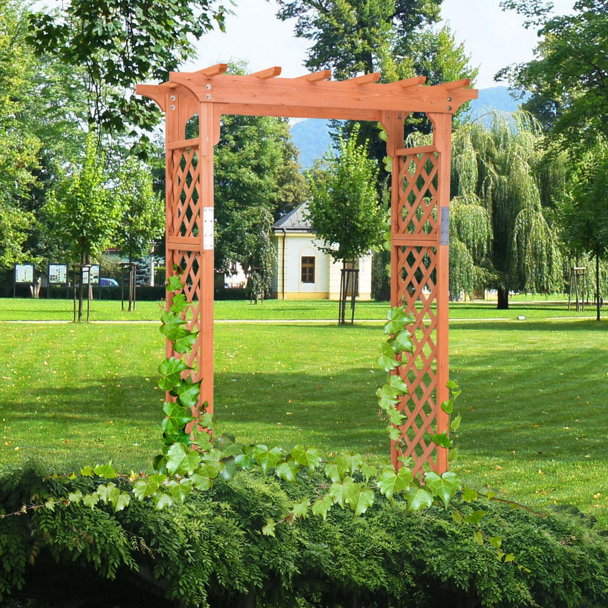 7 Ft Garden Yard Outdoor Wooden High Rose Arbor Arch Plant