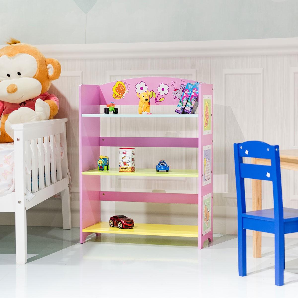 Details About Kids Children Room Adorable Corner Adjustable Bookshelf Bookcase W 3 Shelves Us