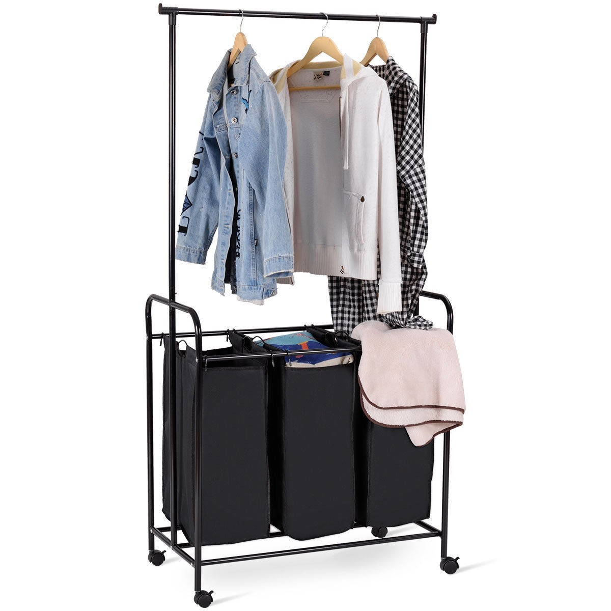 3 Bag Rolling Laundry Sorter Cart Hamper Clothes Organizer Whanging