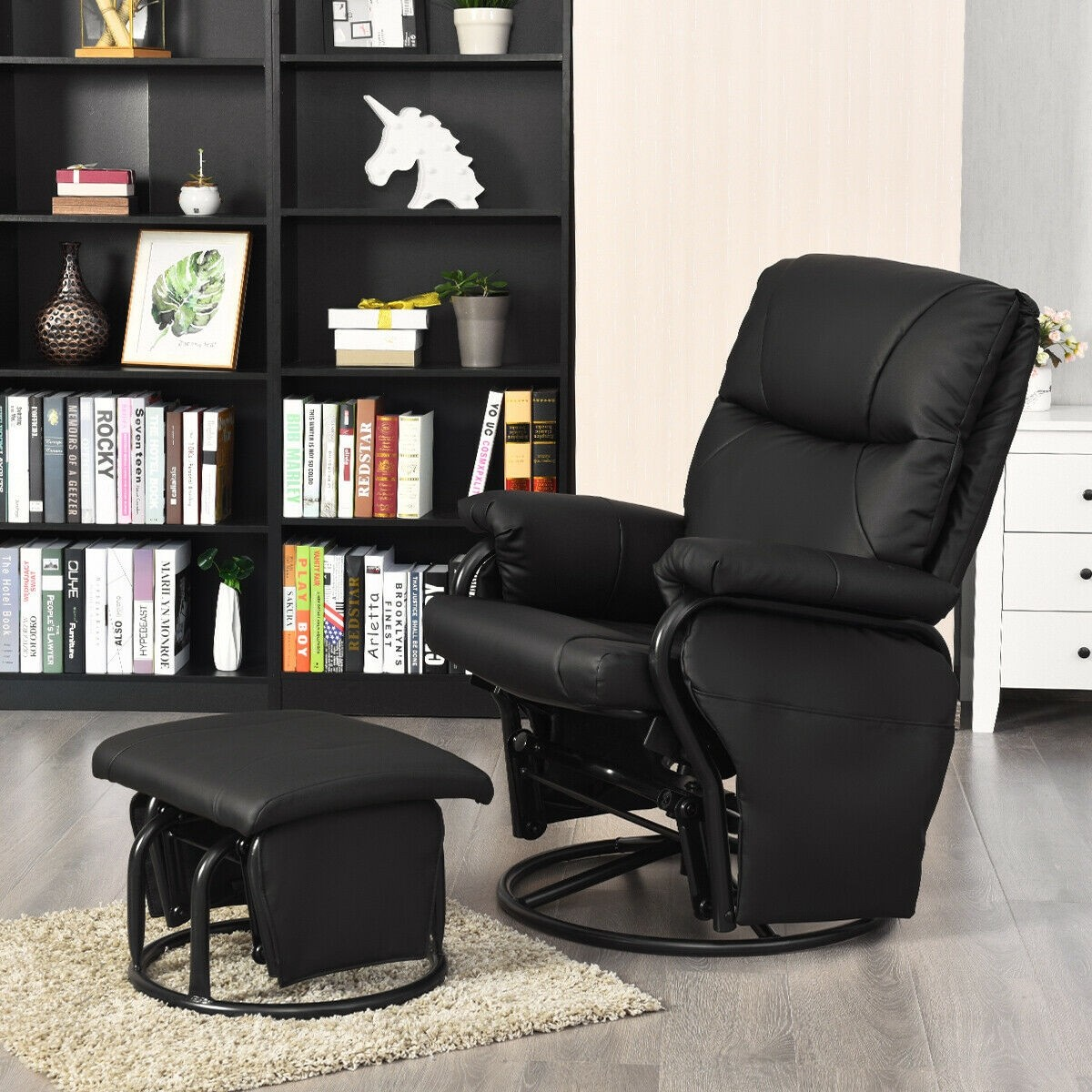 Details About Home Glider Swivel Reclining Pu Leather Computer Recliner Chairs With Ottoman Us
