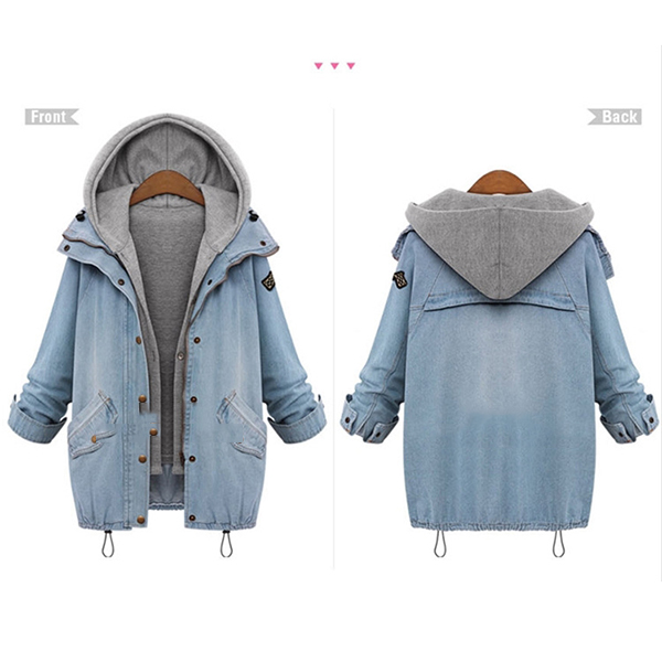 Women 2Pcs Denim Jacket Oversized Hooded Hoodie Gilet Waistcoat ...