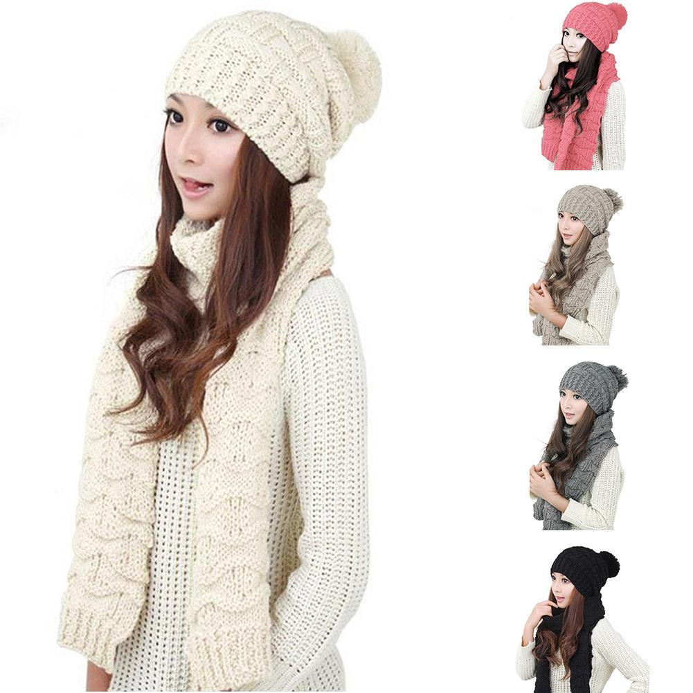 Mujer Set de invierno, Gorro Bufanda, Bufanda tubo Beanie lana punto ...