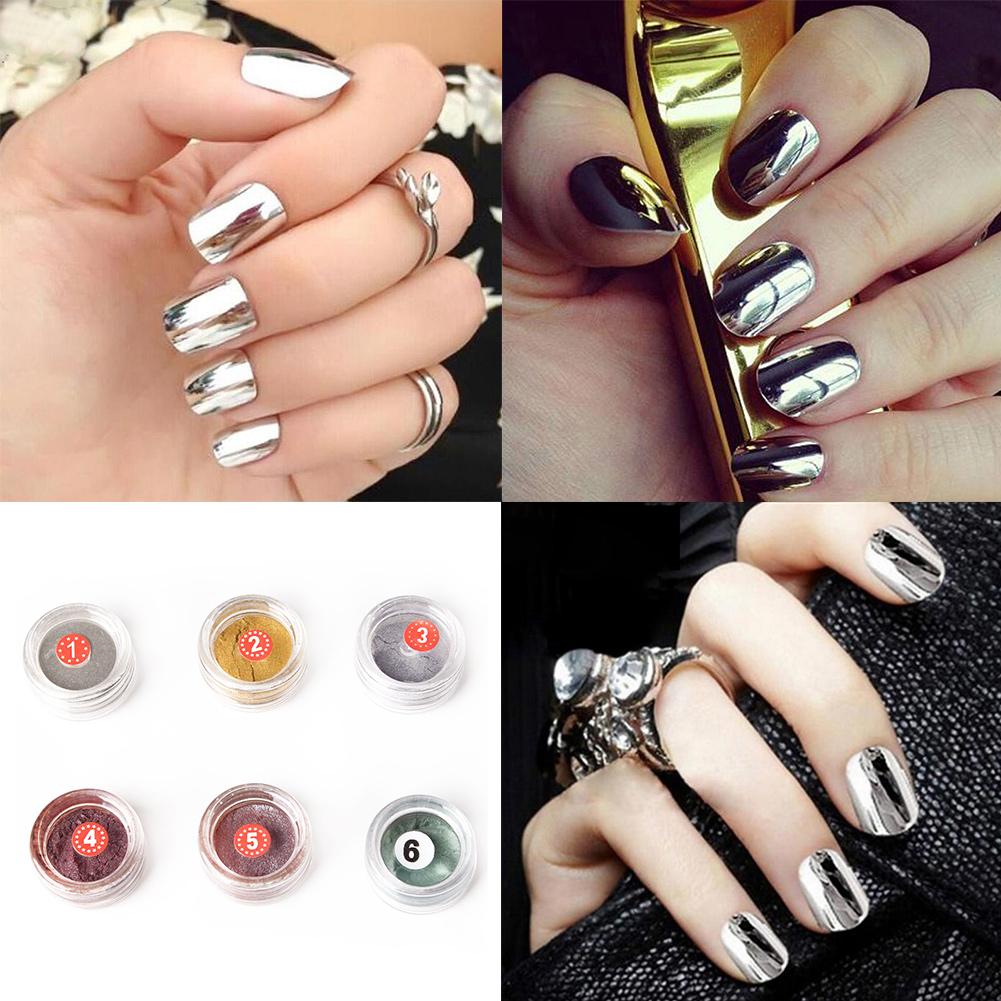 Polvo de uñas efecto Cromo Espejo herramienta Pincel Nail Art | eBay