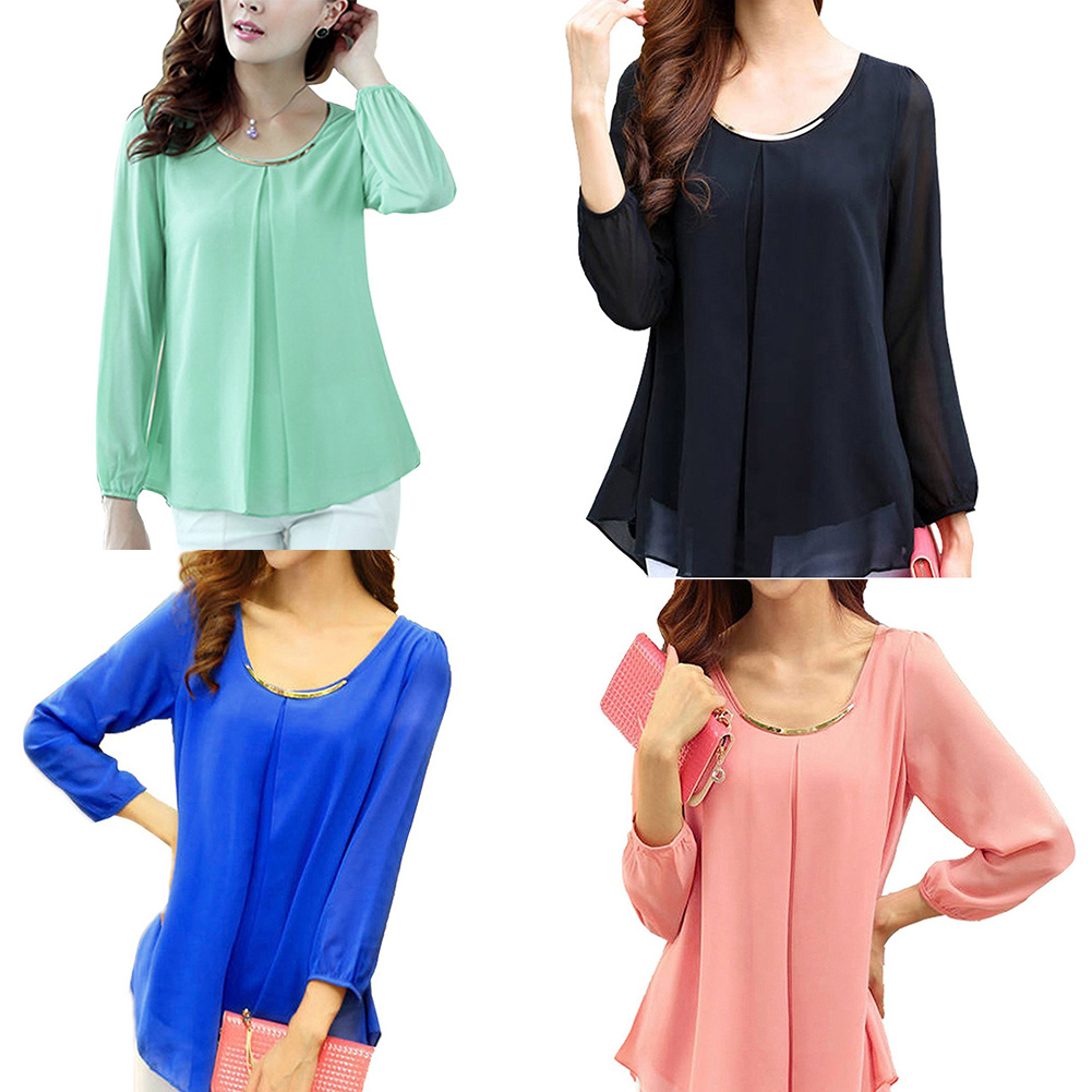 ba2fc1494b9039 Details about Women's Trendy Tops Long Sleeve Chiffon Solid Color Pleated  Shirt Casual Blouse