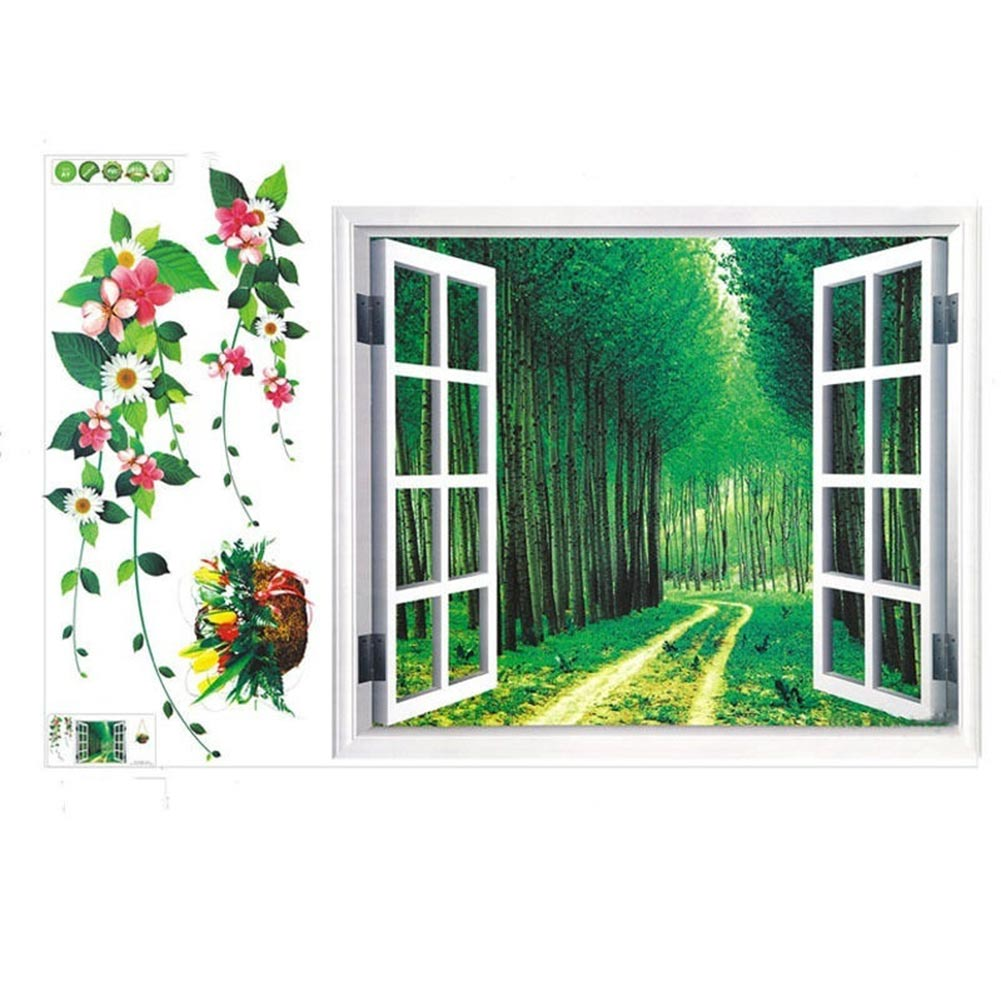Hot removable pvc 3d green forest wall sticker decal - Removable wall stickers living room ...