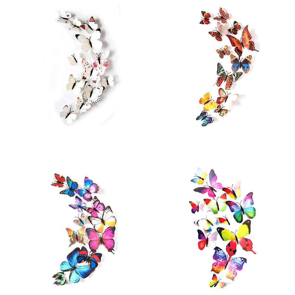 12 unidades de pegatinas de mariposas pvc 3d para pegar en - Mariposas en la pared ...