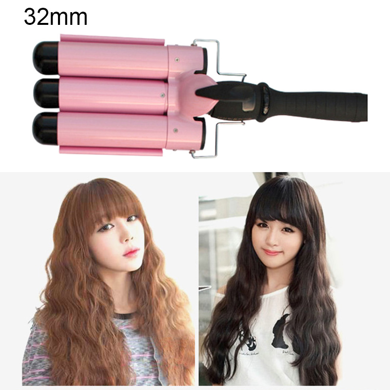 Lcd Stylish 3 Barrels Big Wave Waver Ceramic Curler