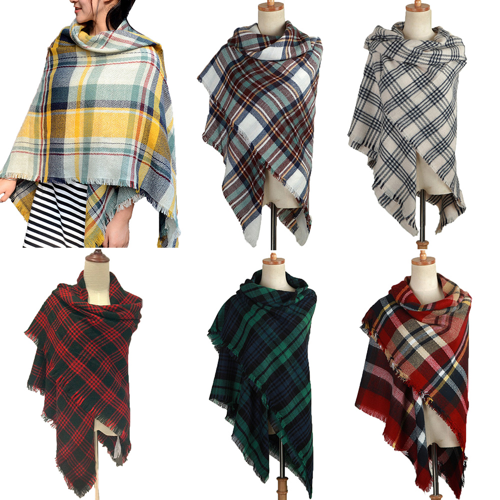 Soft Large Tartan Scarf Checked Scottish Shawl Wrap Winter Gift