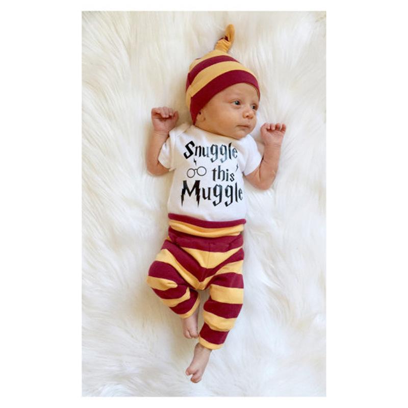 9d5d402f95c 3pc Set Baby Girl Boy Clothes Cute Shirt Pants Hat Cute Suit Snuggle ...