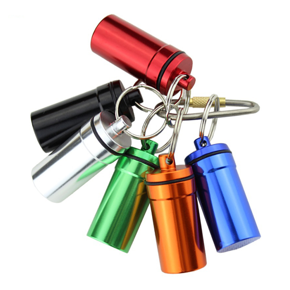 Mini waterproof aluminum keychain medicine pill container for Prescription bottle holder