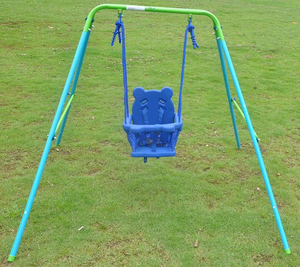 Out indoor folding toddler swing chair fabric steel frame for Indoor swing seat