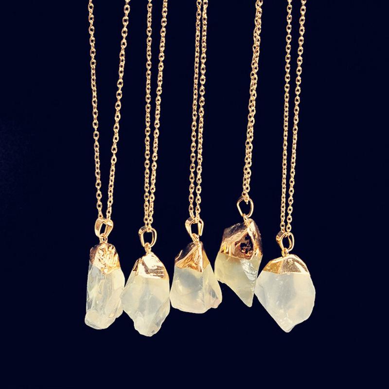 Irrégulier Pierre Précieuse Collier Naturel Cristal Quartz Thérapeutique Chakra
