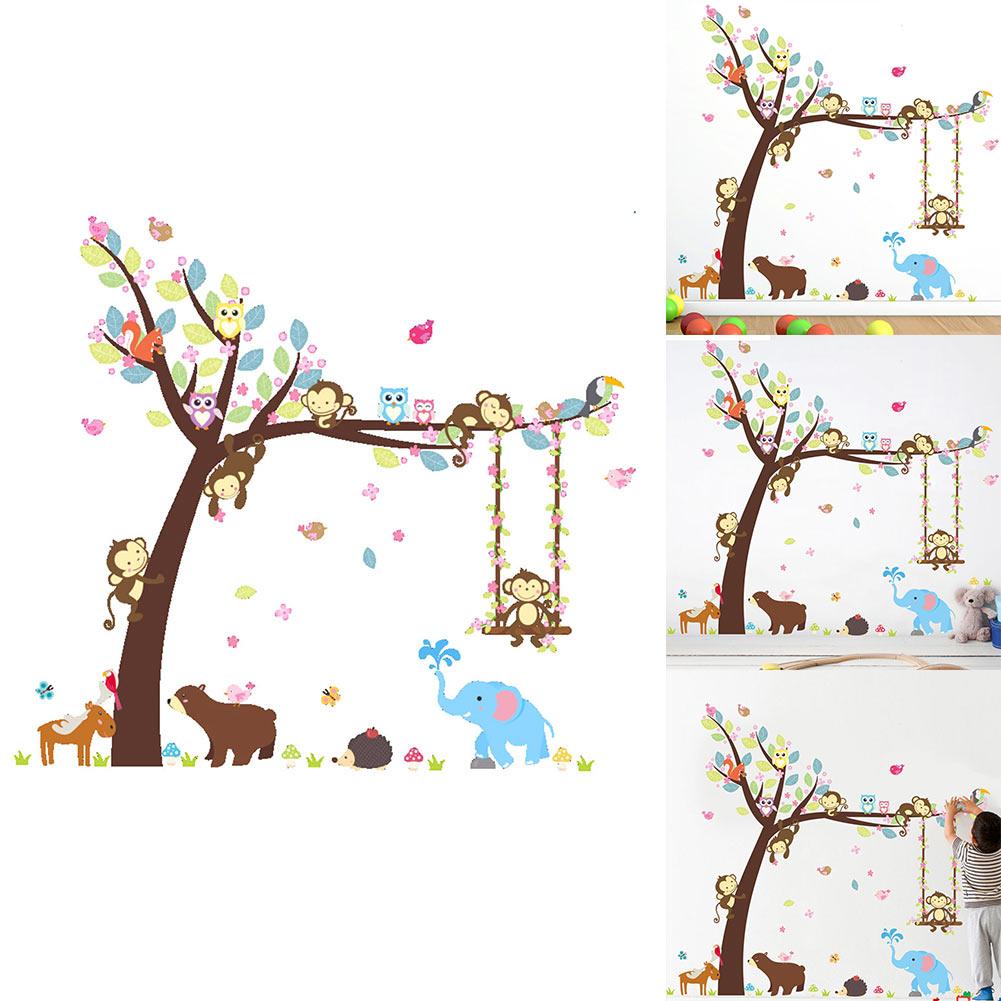 set sticker mural autocollant singe arbre animal. Black Bedroom Furniture Sets. Home Design Ideas