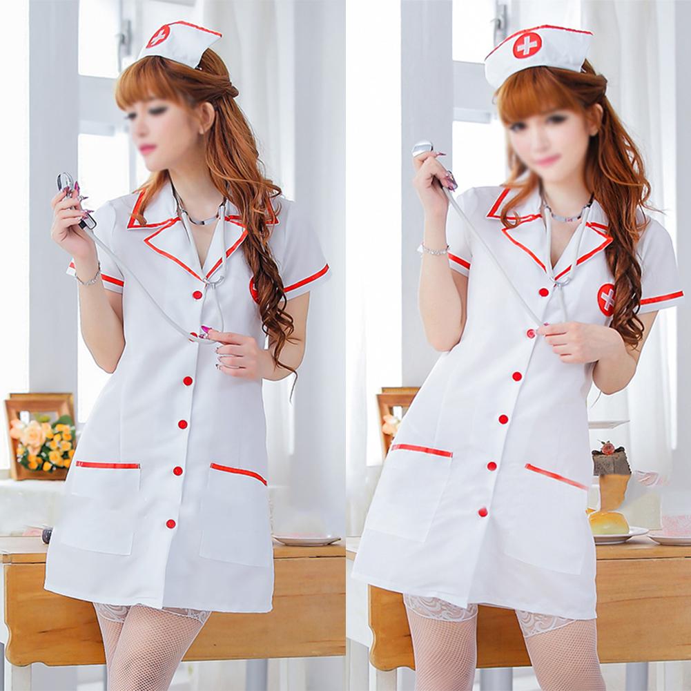 Ladies Nurse Uniform Dress+Hat+Underpants G-string ...