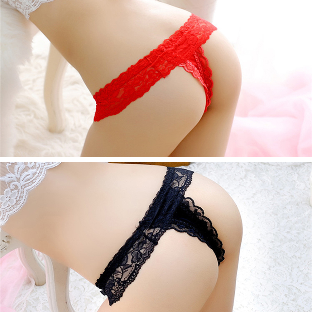 269ed0dd9eb Details about Women Sexy Bow Tie Knot Lace G-string Thongs Underwear Briefs  Panties Lingerie