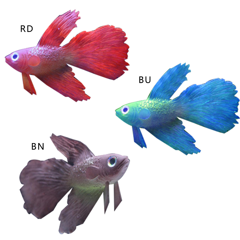 Home silicone glowing effect goldfish betta aquarium fish for Betta fish tank size