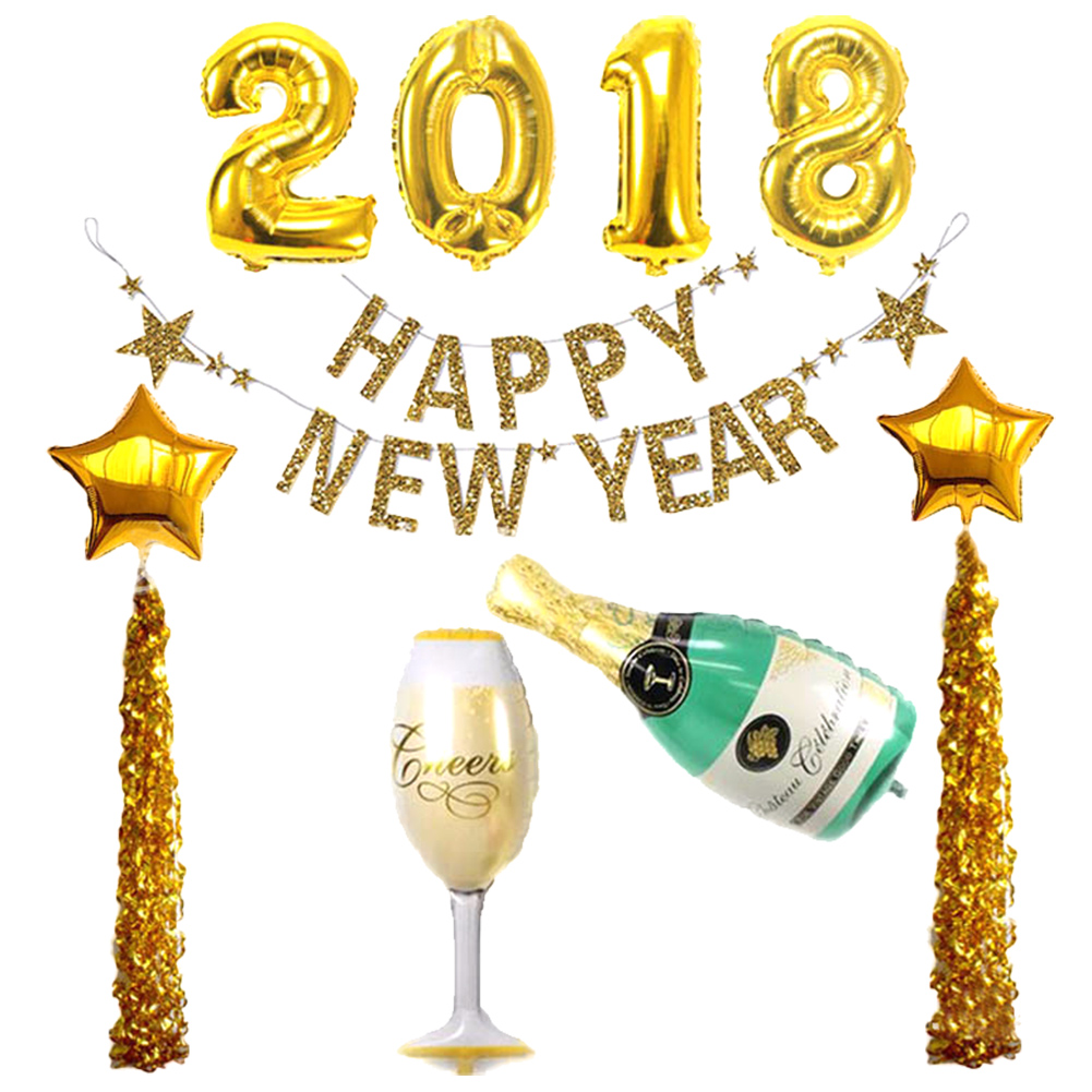 Details About 5pc Set 2018 Happy New Year Star Beer Bottle Cup Mylar Foil Balloon Party Decor