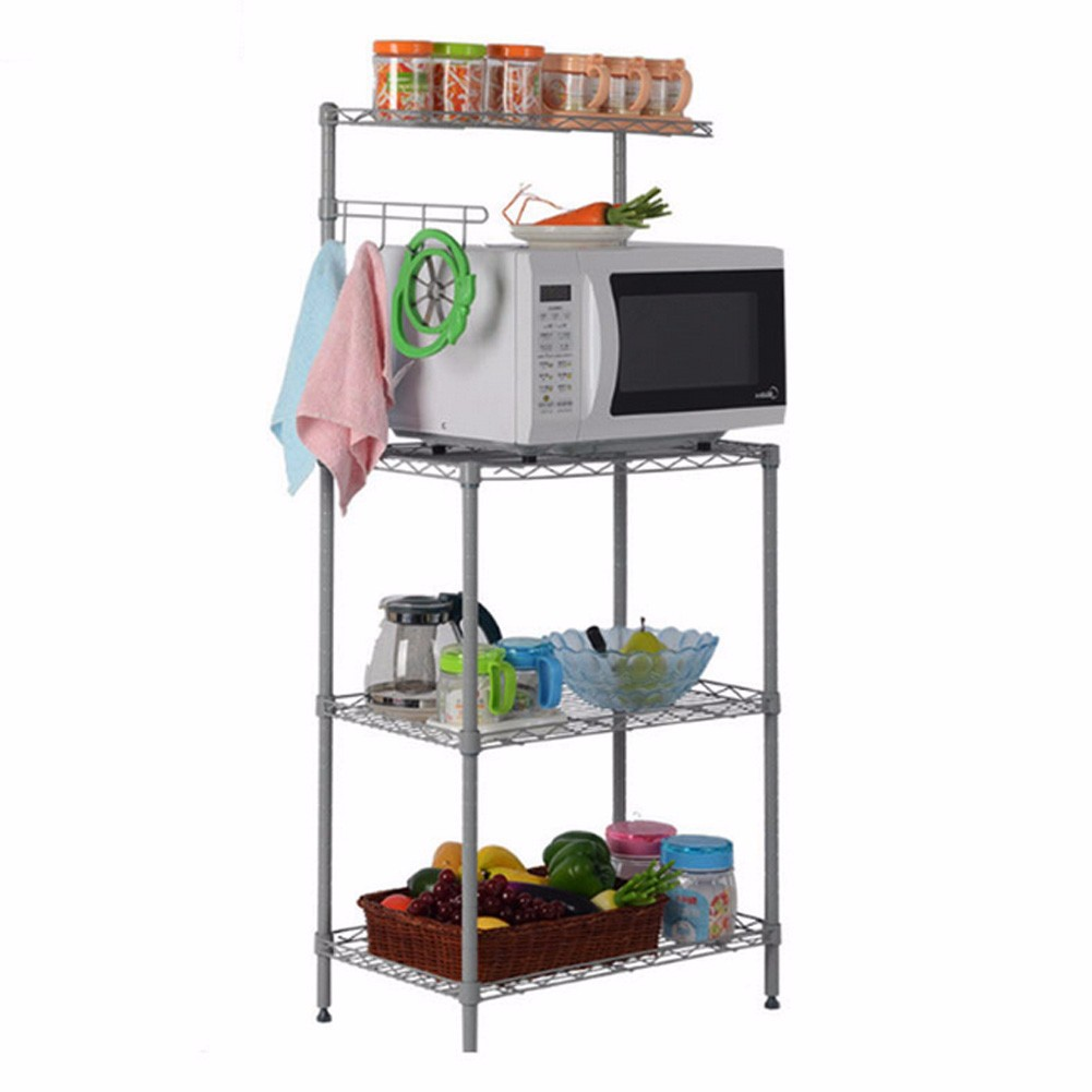 kitchen rack microwave oven stand 3 tiers home storage cart workstation shelf us ebay. Black Bedroom Furniture Sets. Home Design Ideas