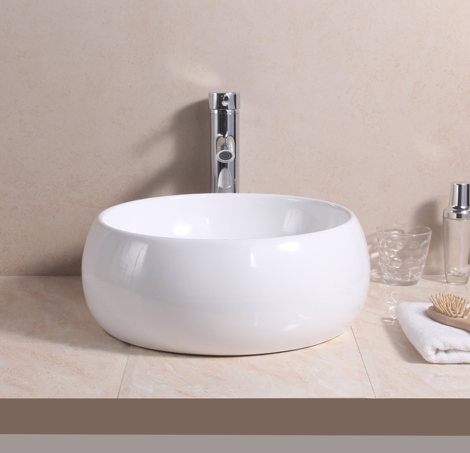 Slim oval counter top basin vanity sink w pop up plug waste ebay - Slim cloakroom basin ...