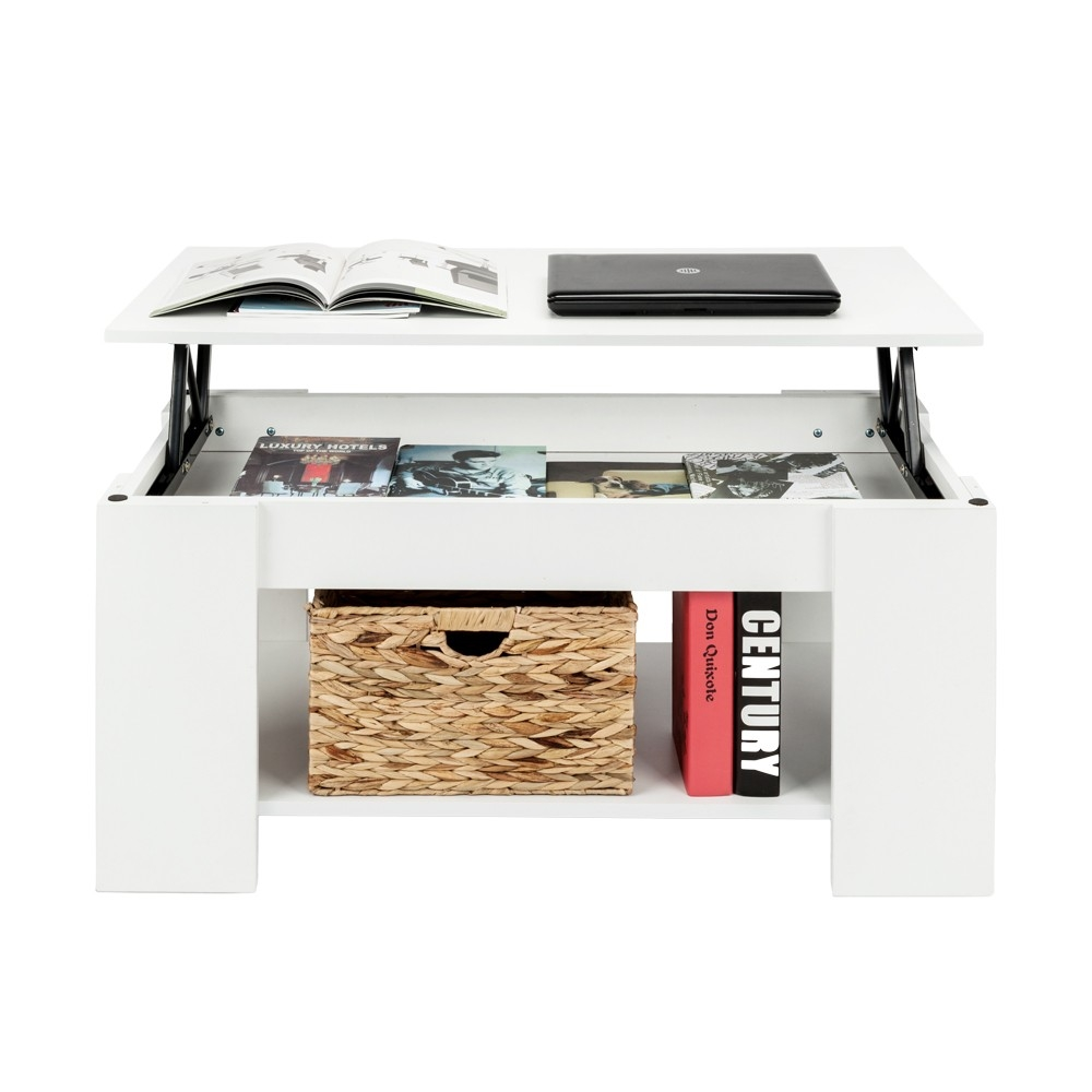 Teak White Black Home Modern Lift Up Top Coffee Table with Storage /& Shelf