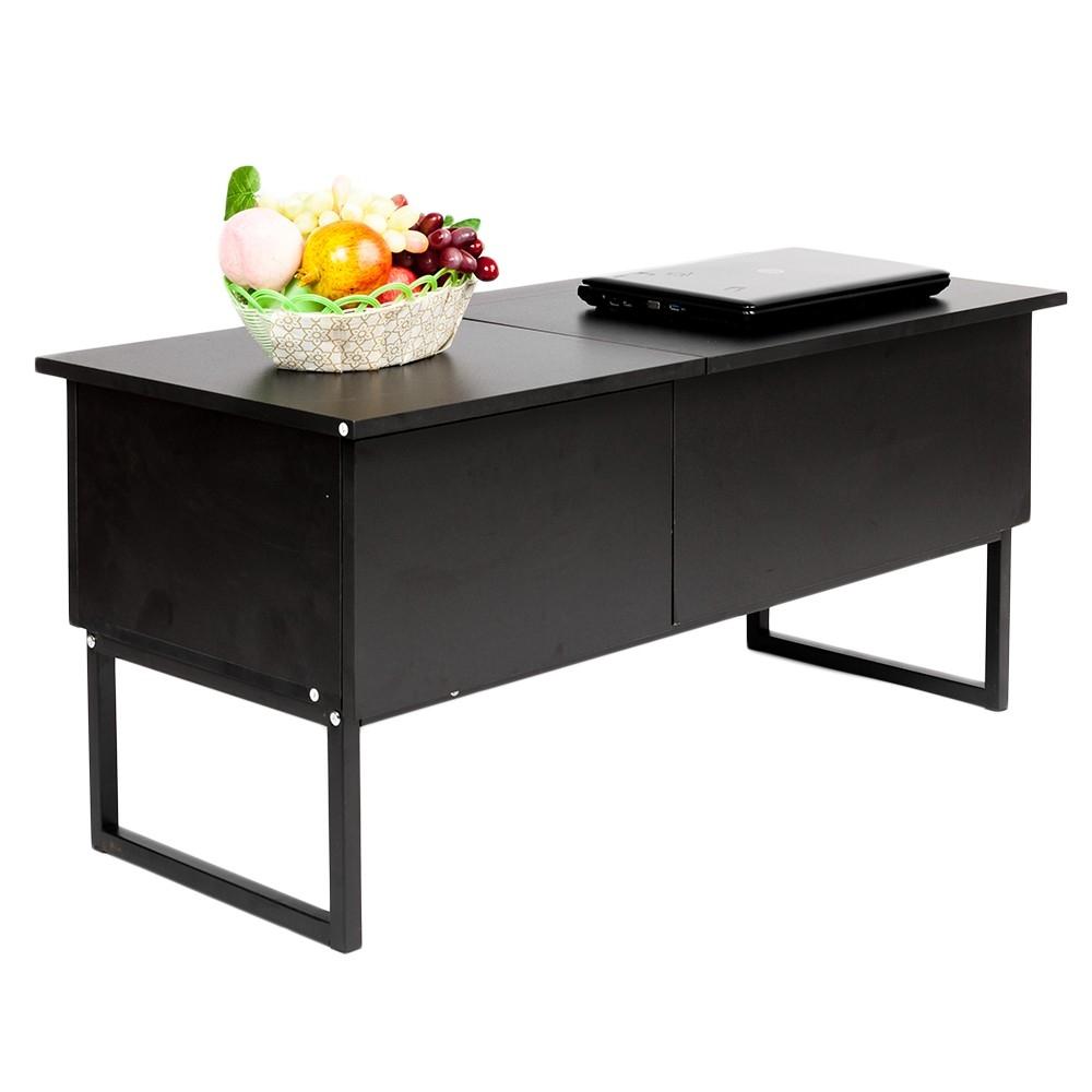 modern lift top coffee table hidden compartment w storage drawer black white us ebay. Black Bedroom Furniture Sets. Home Design Ideas